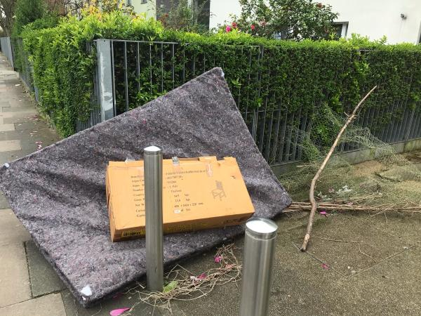 This is on council property, please read the Land Registry records. This is the third time of reporting and the council are responsible for such fly-tipping. -4b East Road, London, E15 3QR