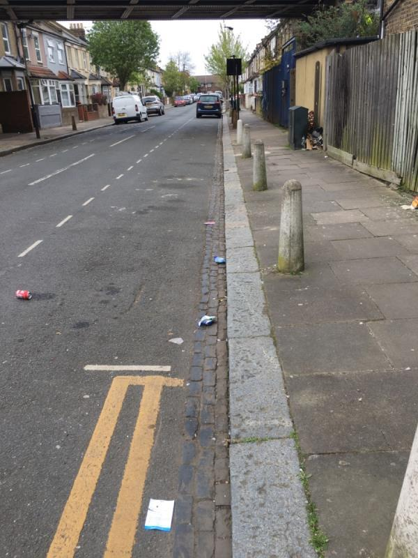 litter on the road and pavement -84a Station Road, London, E7 0AD