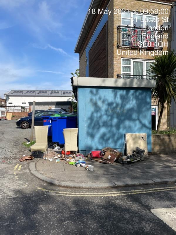 Yet more fly tipping in this location-1 Lucas Street, Honor Oak Park, SE8 4QH