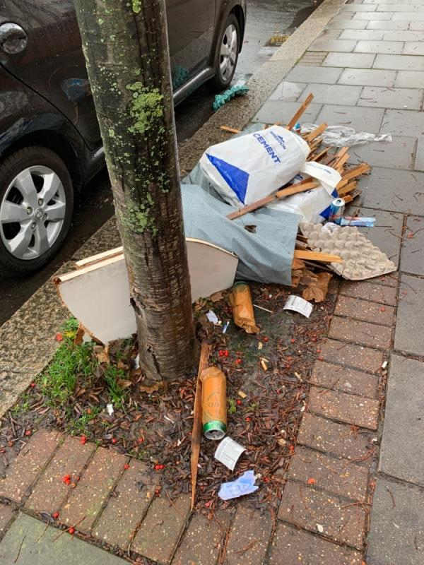 Waste dumped on pavement - unsafe for pedestrians, has there here since last week -27b Thorngrove Road, London, E13 0SH