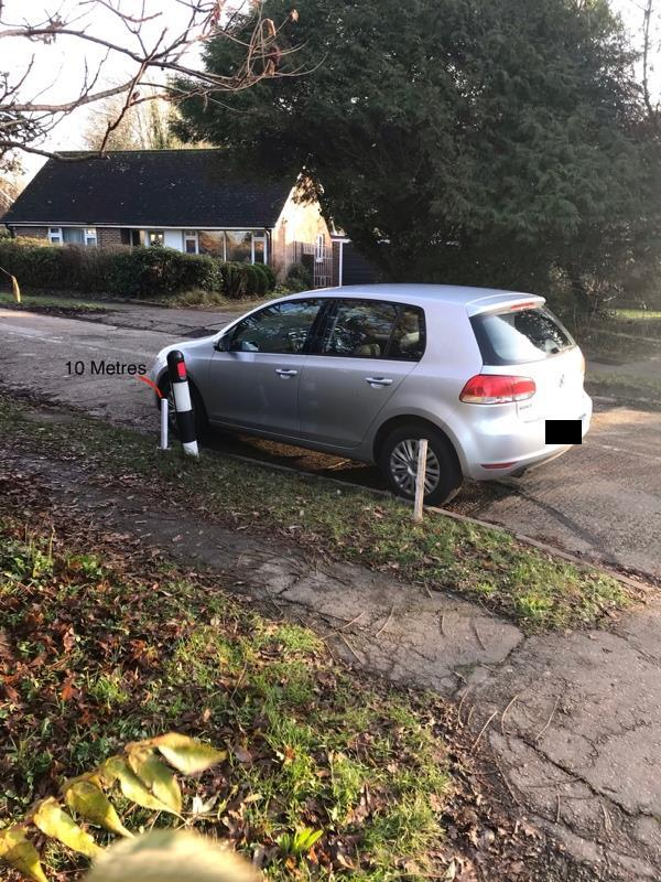 HORNDEN, Cowfold, RH13 8AF. No.36/ 39. Day 2 of Car parked too close to junction. Cars are parked in a continuous line Up the road making the road narrow single file. When people park close to the end like this there is nowhere to stop to let oncoming traffic out of the road. This means you nearly get hit in the back when u have to stop whilst turning in. Made even worse by the cars using the road at speed as a cut through to miss the roundabout queuing. Cars are often attending the school. -34 Thornden, Cowfold, RH13 8AF