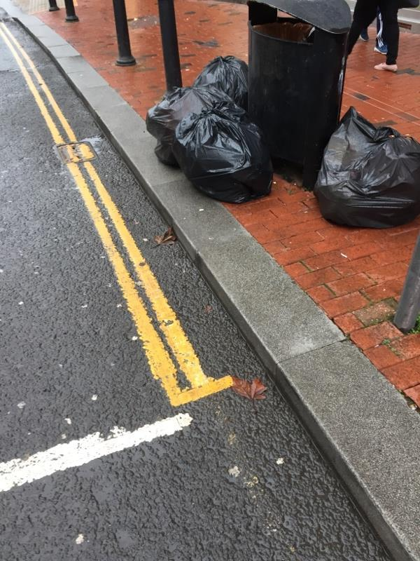 Fly tipping outside Prospect Estate Agents / Jacobs Jewelry. This happens on a weekly basis.  -3-5 King Street, Reading, RG1 4RU