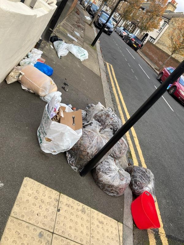 Rubbish - combination of Newham and residents. This is a problem. If Newham don't clear their rubbish/leave bags, residents think it is also ok to dump their rubbish. -41b Leonard Road, London, E7 0DD