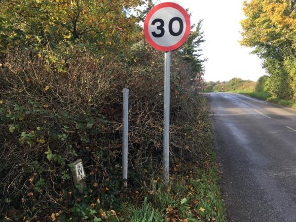 """Missing road sign. """"Lavant"""" village name sign is missing-New Road, Chichester, PO18 0AJ"""
