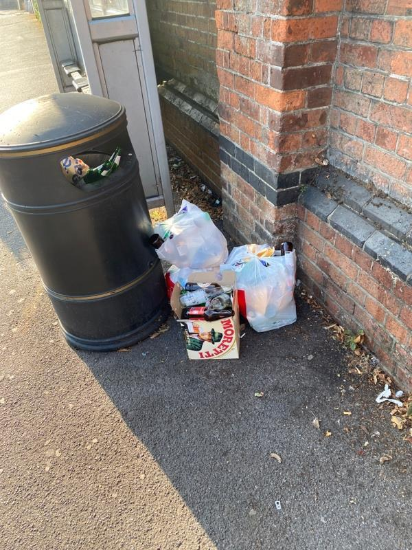Stuff dumped next to bin-584 Oxford Road, Reading, RG30 1EG