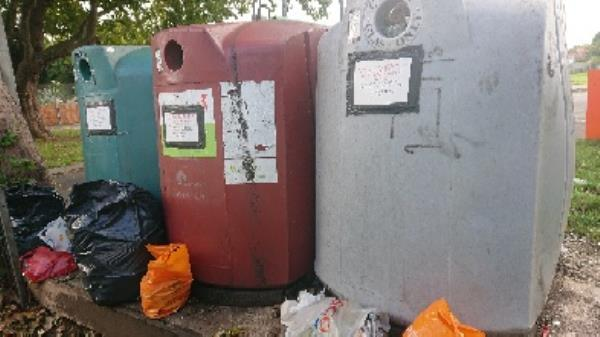 Bottle banks full needs to be emptied cleared excess bottle s -85 Church End Lane, Reading, RG30 4UN