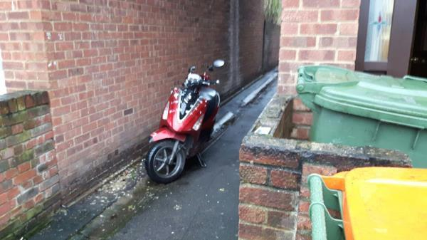 motor bike dumped in alley between 28 and 30 Wilkinson Road e16 3rj-28 Wilkinson Road, London, E16 3RJ