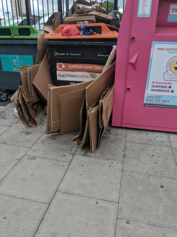 cardboard deposited near recyling bins -60 Leytonstone Road, London, E15 1JY