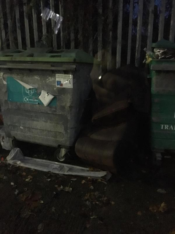 Dumped sofa seats at the Rayleigh Rd bring bank -54 Evelyn Rd, Royal Docks, London E16 2AY, UK
