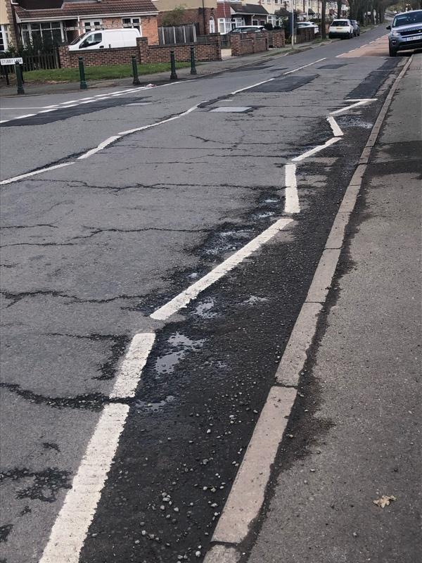 Absolutely disgusting standard of repair to such a busy junction!! Never seen such a mess in my life half the holes and erosion have been missed too !! Absolute insult to the neighbourhood. Total disgrace to the council !!  image 1-110 Broad Lane South, Wolverhampton, WV11 3NW