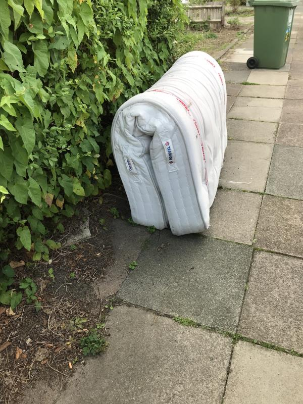 Dumped mattress and furniture blocking pavement and is a fire hazard. -19 Moremead Rd, London SE6 3LP, UK