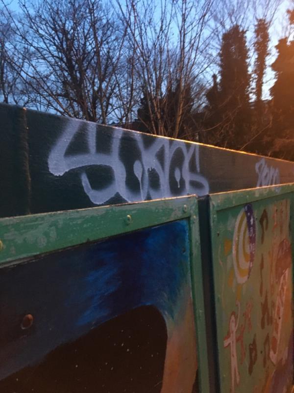 Graffiti tags on green footbridge  image 1-Forest Lane, London, E15 4NT