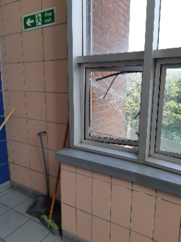 CHETTLE COURT N8 9NZ BC BLOCK 1st FLOOR next to flat 43 landing window glass smashed and hanging off needs to be made safe ASAP  image 1-14 Highbank Way, London, N8 9NZ