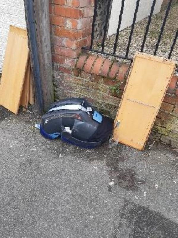 assorted rubbish dumped outside church in valentia road .-41 Valentia Road, Reading, RG30 1DH