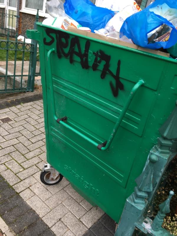 Bin over flowing -38 Snowshill Road, Manor Park, E12 6BB