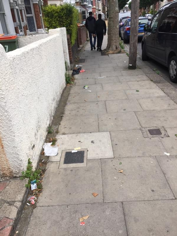 The pavement needs sweeping -36 Central Park Road, London, E6 3DY