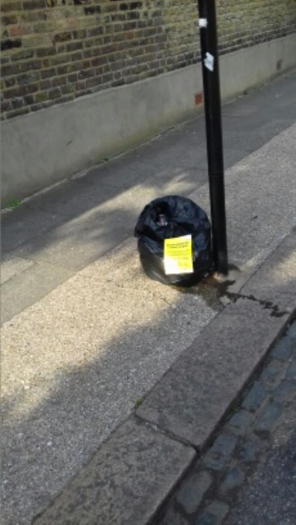 A bag of domestic wastes dumped near 75 Southern Road -13 Credon Road, London, E13 9BS