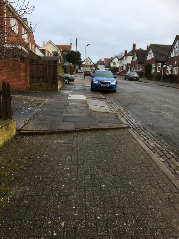 The pavement on Sunnycroft Road, just outside of number 20, has a step down which is not clearly marked. It is also not illuminated at night at all. A friend recently fell down the step and seriously hurt her ankle and knees. Please could you either remove the step and smooth out the pavement or make the step down clearer. Thanks.  image 1-13 Sunnycroft Road, Leicester, LE3 6FT
