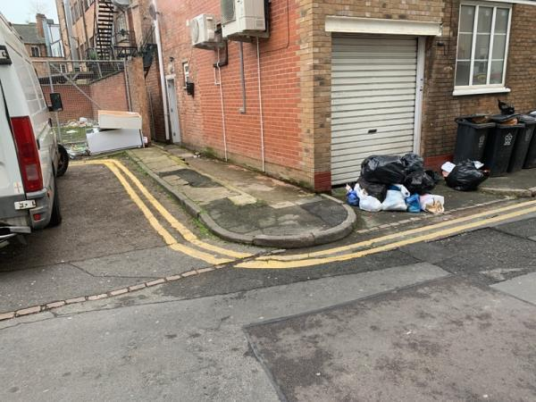 Fly tipping  outside flats-169 Belgrave Gate, Leicester, LE1 3HS