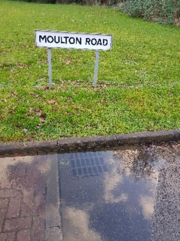 Overflowing drain in road. Reported to Severn Trent but they said it was Council responsibility. Been overflowing for months.-21 Thornborough Way, Leicester, LE5 1AX