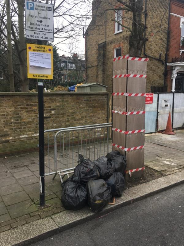 Abandoned street barriers, and now more household waste. Please clear up as this in encouraging regular dumping at this location. Thank you.-113 Ritherdon Road, London, SW12 9HN
