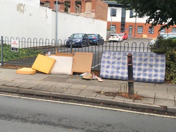 Look at the mess people have left there is sign no fly tipping but no body takes any notice please do something about this. It give our street a bad name -63 Brandon Street, Leicester, LE4 6AW