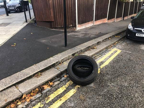 Car Tyres abandoned -496a Barking Road, London, E13 8AL