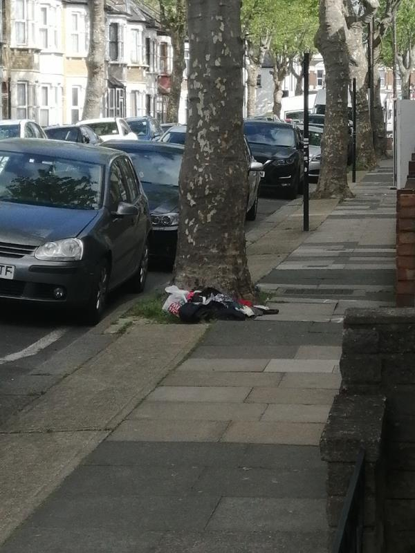 Clothes left under tree out side 55 Third avenue. -59 Third Avenue, Manor Park, E12 6DX