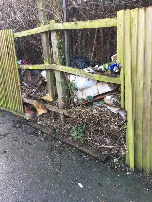 Rubbish dumped in fence. Rat issues-2 Elmdale Street, Leicester, LE4 5JA