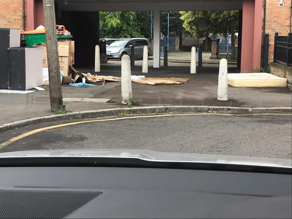 Rubbish dumped regularly in the archway -7 Marcus Street, London, E15 3JT