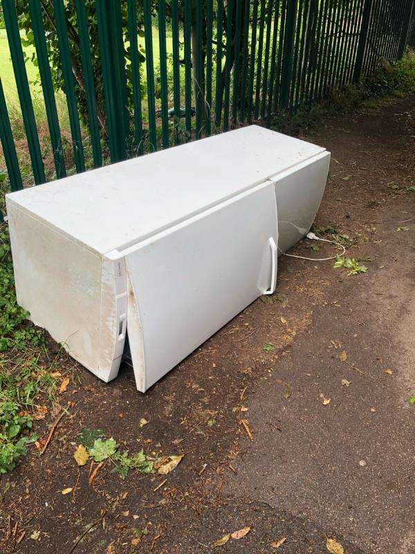 Fridge dumped in alley between south view ave and Falkland road -1 Cromwell Road, Reading, RG4 5EA