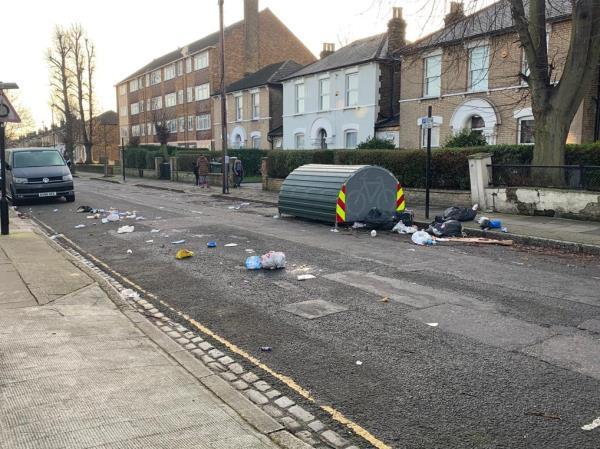 Dumped domestic waste which has been ripped apart and strewn across the road. -80 Osborne Road, London, E7 0PH