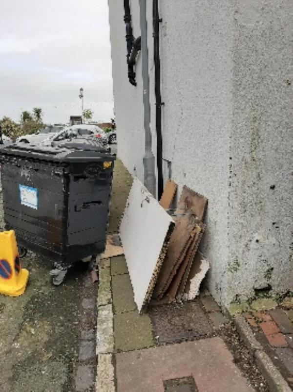 seesl- fly-tipped door and wood in bakery lane by the bins.   can this be removed ASAP please.  Daniel Cleland- Neighbourhood first Advisor Zone 1-19a Seaside, Eastbourne, BN22 7NB