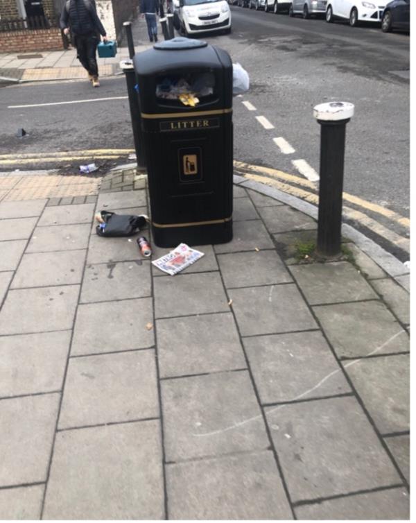 Overflowing litter bin-40 Pretoria Road, London, N17 8