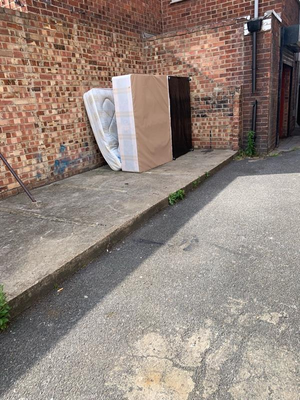 Bases of bed and mattress dumped the back of falcon street needs clearing w-83 Falcon Street, London, E13 8DD