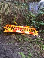 Council barriers that have been left behind after footpath closure  They need removal -27 Marylebone Place, Leicester, LE3 2BQ
