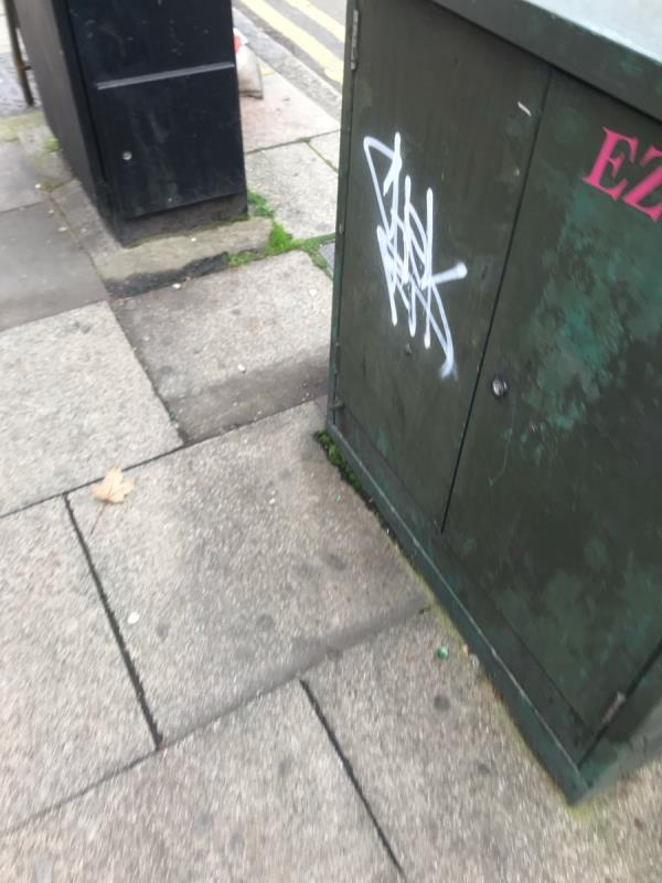 White felt pen tags are located on a green metal cabinet located opposite Metro Bank On The Broadway W5 -1 The Mall, Ealing, W5 2RY
