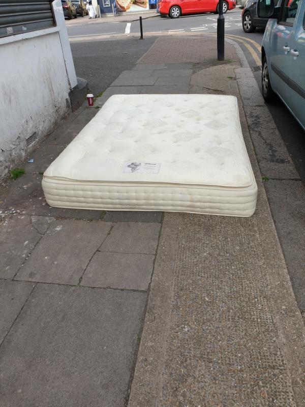 Top of Fifth Avenue Manor Park tonight the mattress is now propped up against it's the same one I reported this afternoon fingers crossed it won't be there in the morning -31 Fifth Avenue, Manor Park, E12 6DA