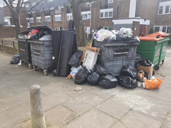 General bins not emptied and fly tipping black bags and whole bed frame all around the bins.-63 Moore Walk, London, E7 0HY