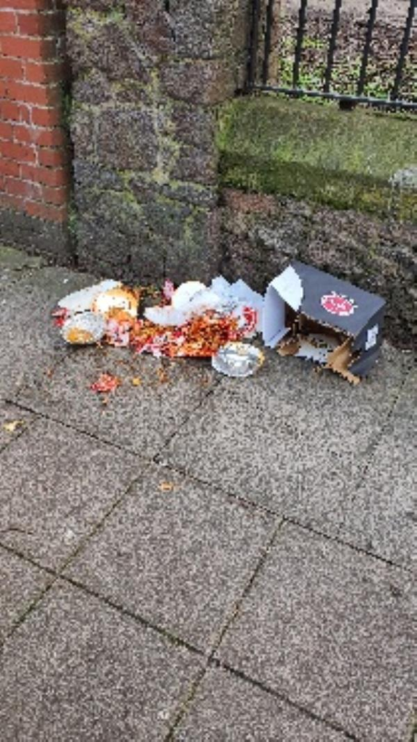 Food waste on the pavement -1 Gopsall Street, Leicester, LE2 0DL