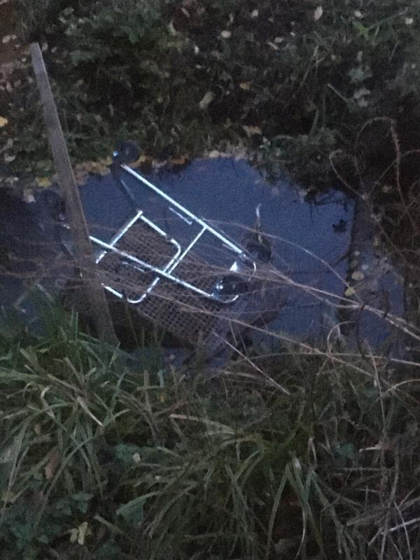 Trolley dumped in Brook  -129 Cheyne Way, Farnborough, GU14 8SA