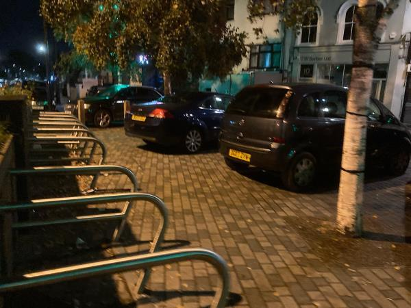 Yet again cars parked on the footpath blocking pedestrian access. This newly paved area is not a car park or road but a footpath. Please can cctv be installed & drivers fined for parking here. -Street garden, Sebert Road, 81-85 A114, London E7 0EN, UK