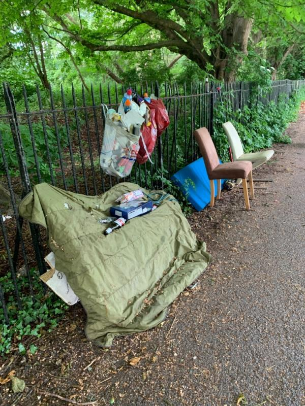 Flytipped litter on the Thames Path by Tesco Napier Road. Presumably this is rubbish from the boat dwellers again. -53 Robert Parker Road, Reading, RG1 8DF
