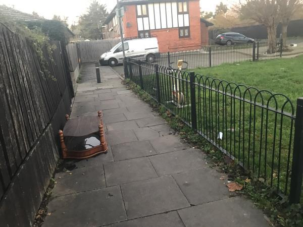 Bike and table fly tipped-9 Heather Close, London, E6 5NR