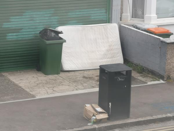 Mattress and box dumped -55b Frinton Road, East Ham, E6 3EZ