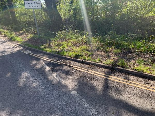 Pothole at junction, deep enough to damage bicycle wheels and cause a loss of control -2 Gillmans Cottages Marringdean Road, Billingshurst, RH14 9EZ