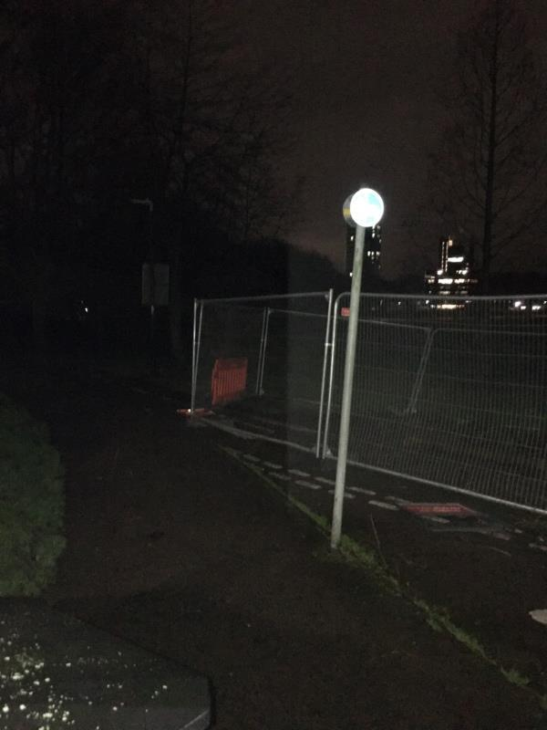 All lights out on footpath / cycle path from Queens Road across Victoria Park to University of Leicester-128 Victoria Park Road, Leicester, LE2 1XD