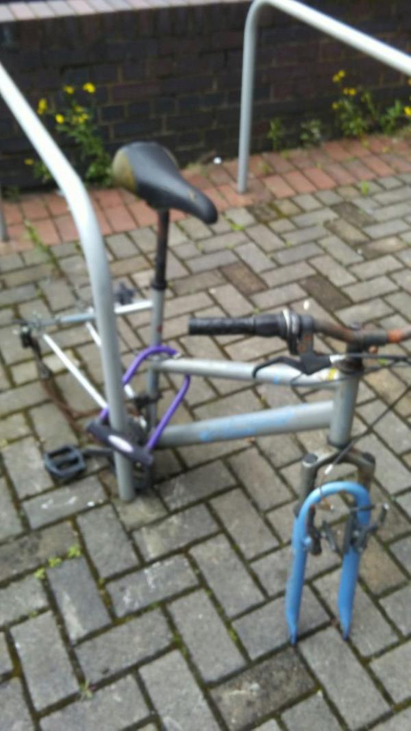 The remains of this bicycle appear to have been abandoned outside the Sue Townsend Theatre - not a pleasant sight for visitors to one of our cultural jewels.-16 Upper Brown Street, Leicester, LE1 5TE