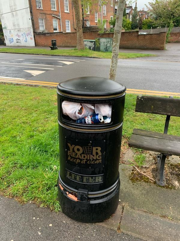 Bin full of domestic rubbish - someone from the flats between the 2 hotels put a bag of domestic rubbish in the bin as ai ran past -124 Kendrick Rd, Reading RG1 5DP, UK