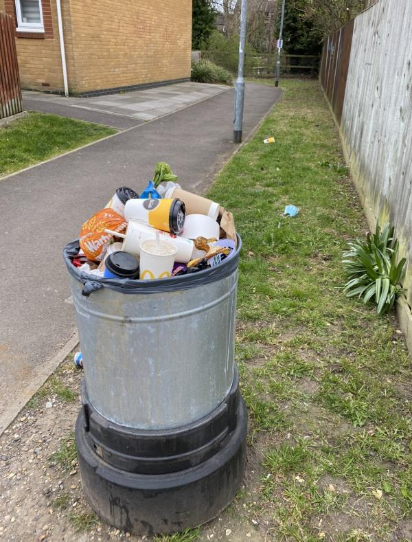 The litter bin here is broken and has been overflowing for several days resulting in used masks and fast food wrappers being discarded on the pathway. Other bins down this side of the river are also overflowing.-46 Kenavon Drive, Reading, RG1 3DH